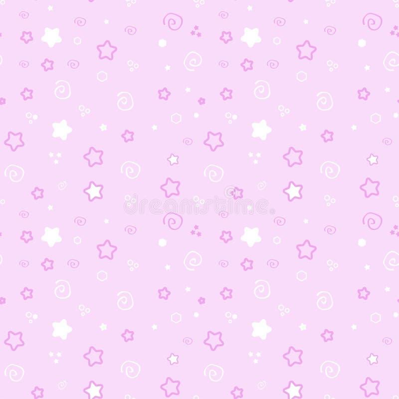 在桃红色背景设置的无缝的样式婴孩 逗人喜爱的例证精美,公主软的颜色 新颜色传染媒介 向量例证