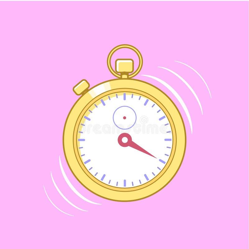 在桃红色背景隔绝的金黄秒表 向量例证
