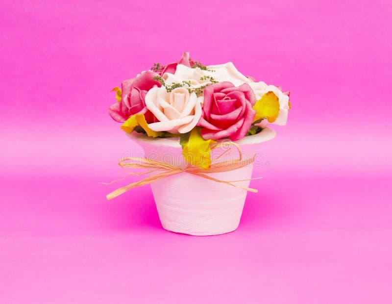 在桃红色背景隔绝的花瓶的美丽的花 库存照片