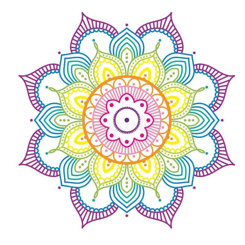 在桃红色背景,例证的彩虹五颜六色的坛场 向量例证 插画 包括有 图画 粉红色 坛场 五颜六色 蓝色