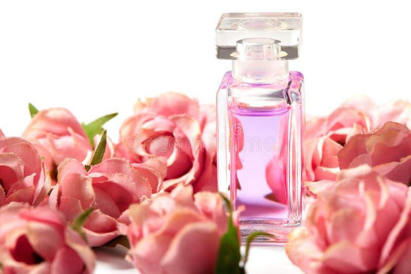 在桃红色花玫瑰的香水瓶 与豪华芳香parfume的春天背景 秀丽化妆用品射击 免版税库存图片