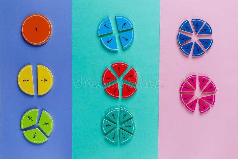 在桃红色蓝色紫罗兰明亮的背景的五颜六色的算术分数 孩子的有趣的算术 教育,回到学校概念 库存图片