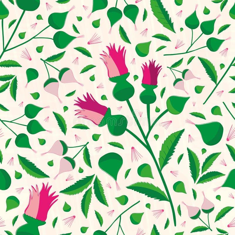 在桃红色颜色的典雅充满活力的花卉样式和绿色在软的织地不很细背景 无缝的老练传染媒介 向量例证