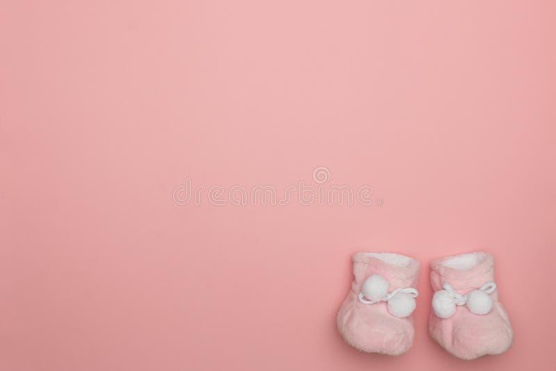 在桃红色,新出生的软的软的豪华的赃物的布局 免版税图库摄影
