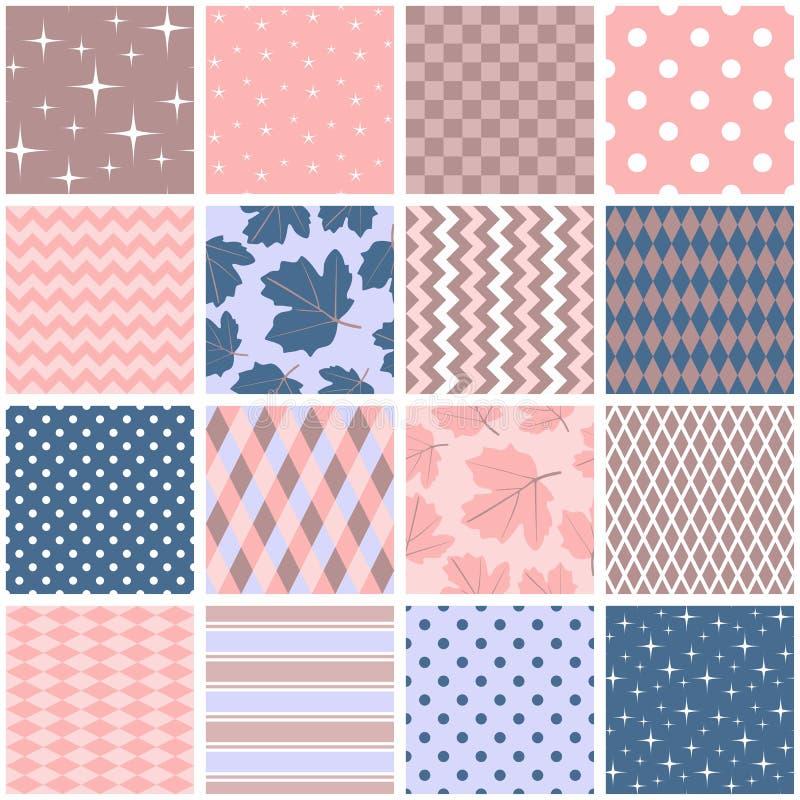 在桃红色,蓝色和棕色颜色的美丽的无缝的补缀品 与叶子、星、圆点、之字形和菱形的方形的样式 库存例证