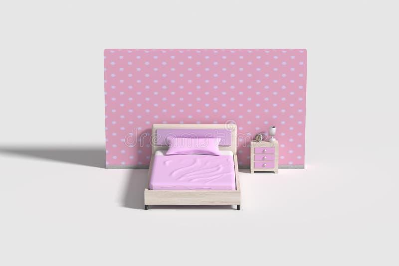 在桃红色,紫罗兰色和白色颜色的卧室内部 向量例证