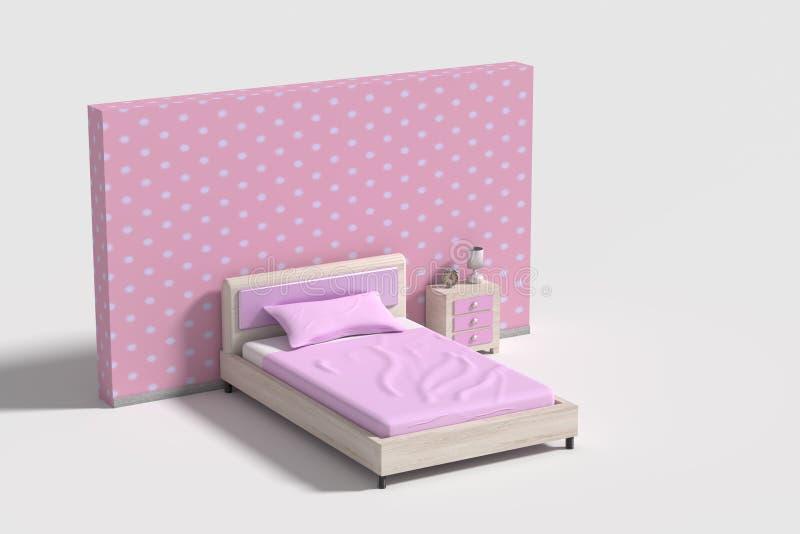 在桃红色,紫罗兰色和白色颜色的卧室内部 皇族释放例证