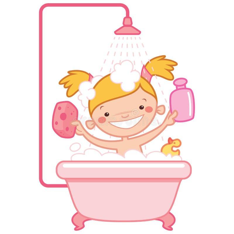 在桃红色浴盆的愉快的动画片女婴孩子 库存例证