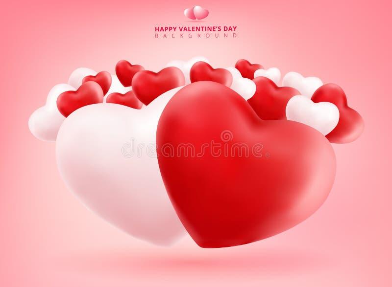 在桃红色Backgrou的软和光滑的红色和白色华伦泰心脏 向量例证