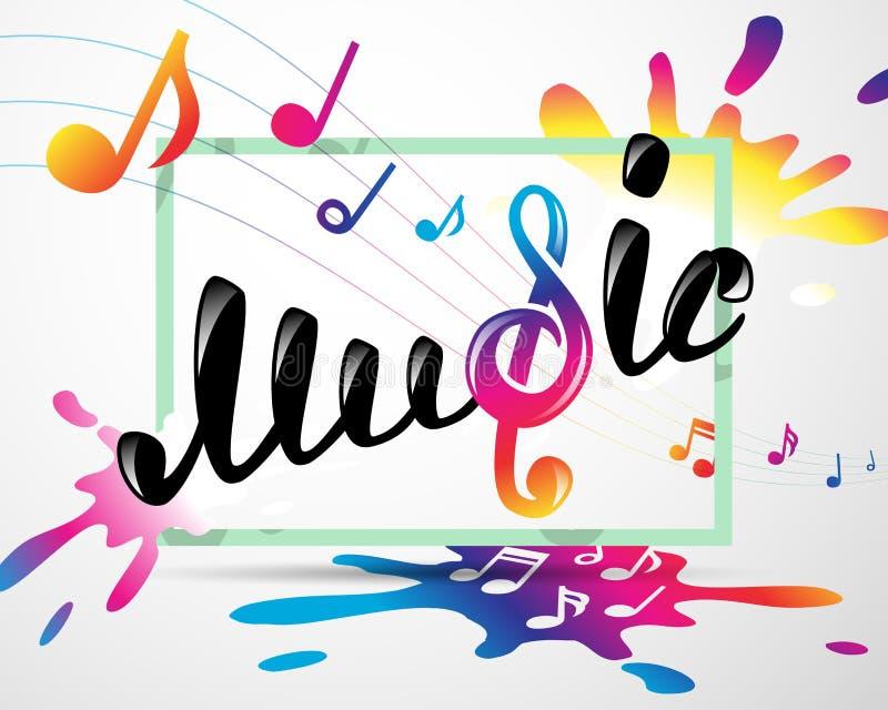 在框架的五颜六色的音乐商标 库存例证