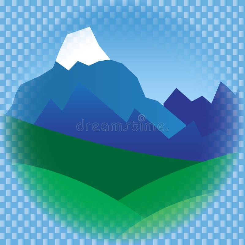 在框架的平的山 库存图片