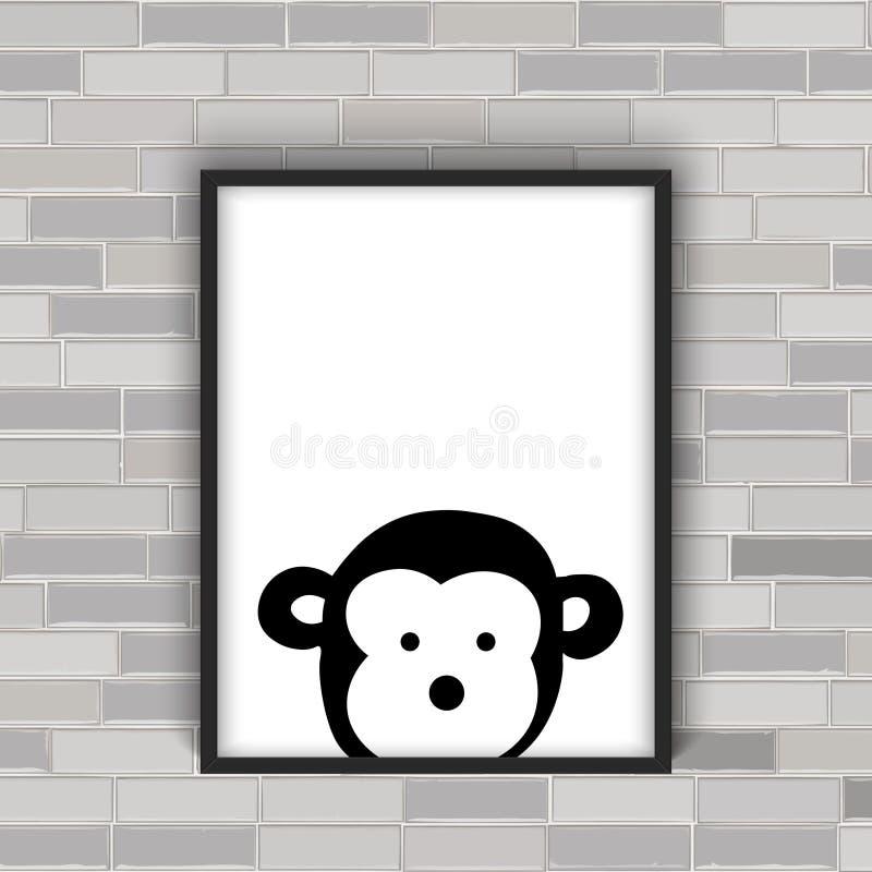 在框架的猴子头 皇族释放例证