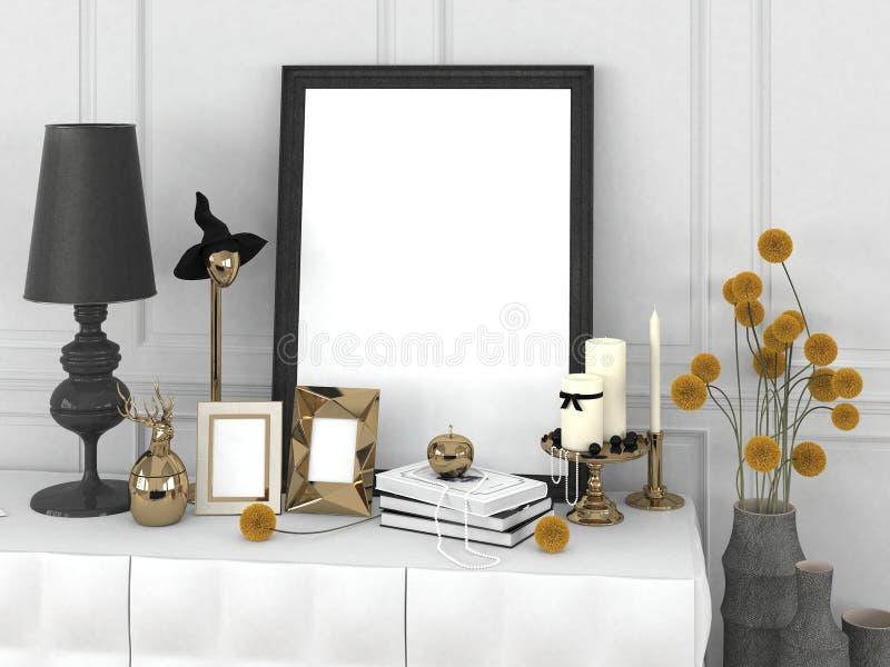 在框架的空白的海报和在一个古典样式的装饰元素在桌上 向量例证