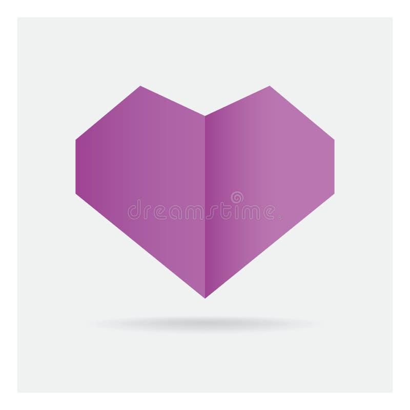 在框架艺术孤立的华伦泰爱快乐紫心勋章纸工艺 库存例证