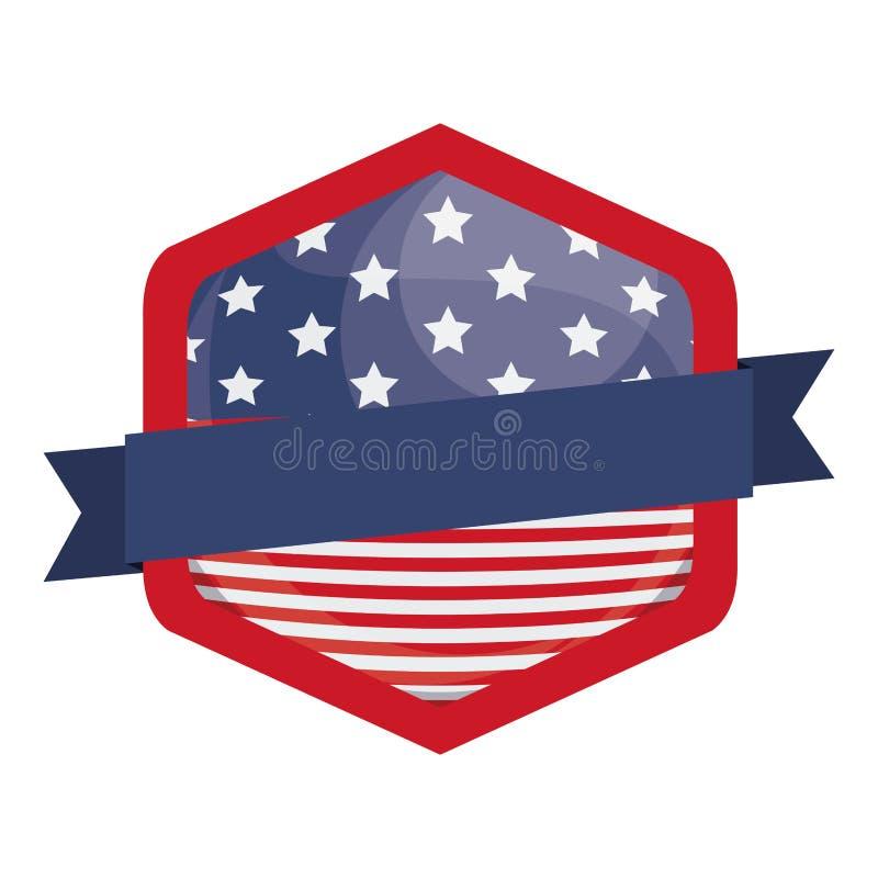 在框架设计里面的被隔绝的美国旗子 皇族释放例证