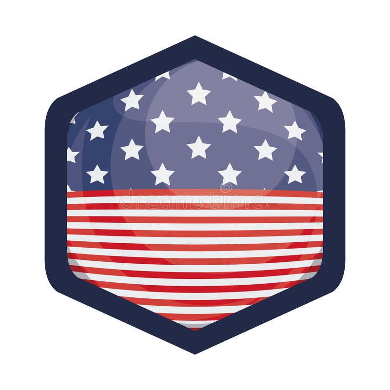 在框架设计里面的被隔绝的美国旗子 库存例证