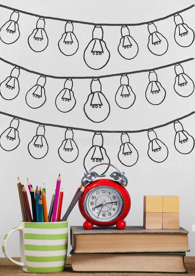 在桌上的书反对有电灯泡图表的白色黑板 向量例证