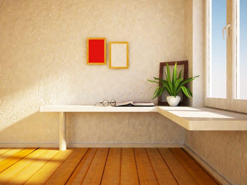 在桌上的植物在框架附近, 皇族释放例证