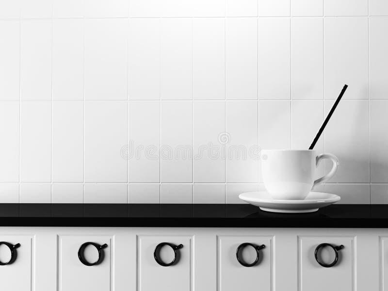 在桌上的白色杯子 库存例证