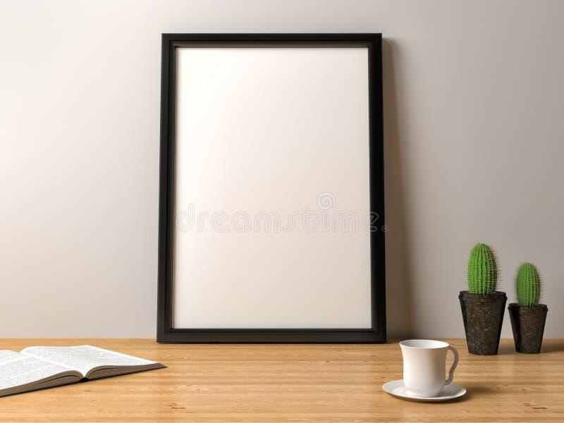 在桌上的空白的框架海报 向量例证