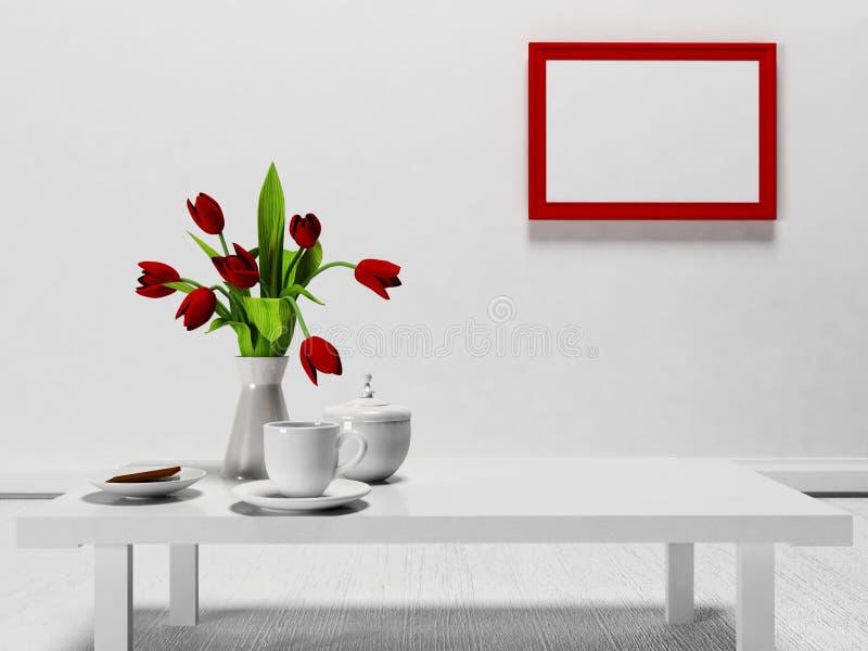 在桌上的红色花 皇族释放例证