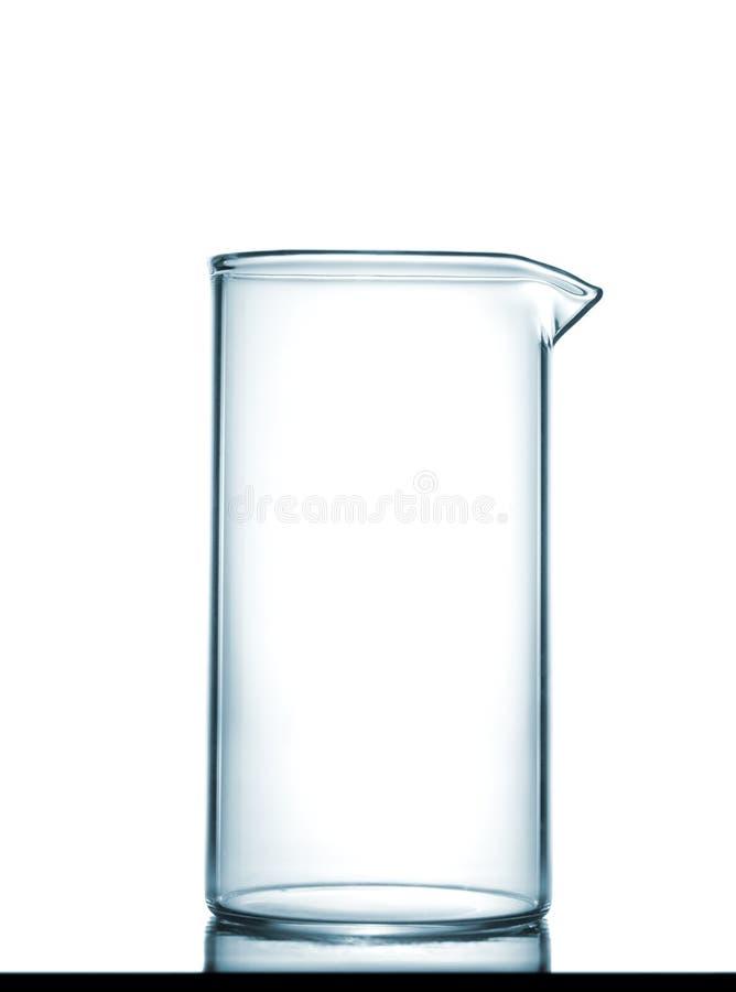 在桌上的被隔绝的化工烧杯 免版税库存图片