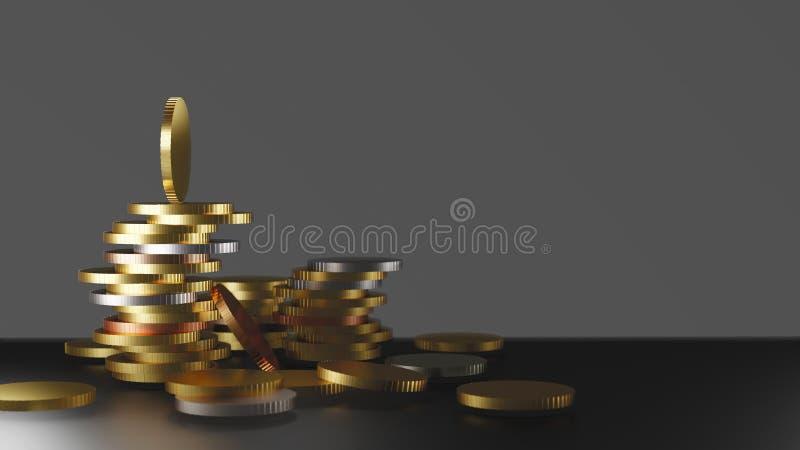 在桌上的金钱硬币与拷贝空间 皇族释放例证