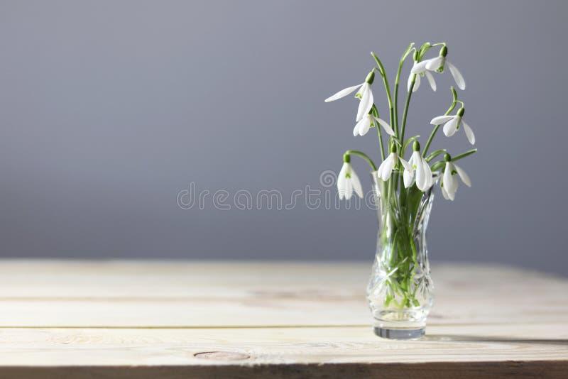 在桌上的Snowdrops 花束开花弹簧 Snowdrops背景 在木桌上的春天花 假日书桌 假日fl 图库摄影