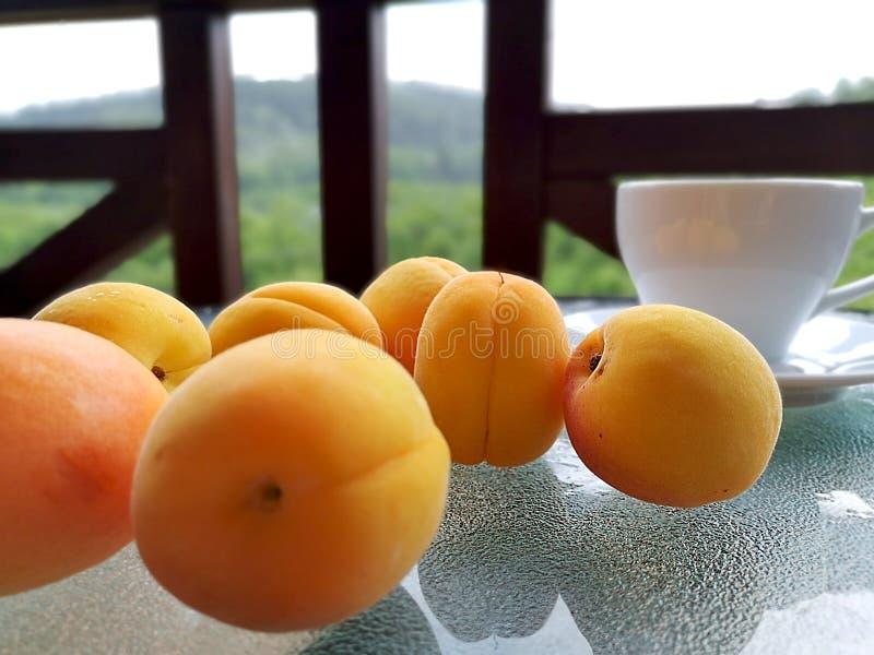 在桌上驱散的新鲜的杏子 免版税图库摄影