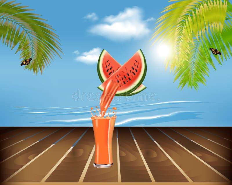 在桌和海滩上的新鲜的汁液 皇族释放例证