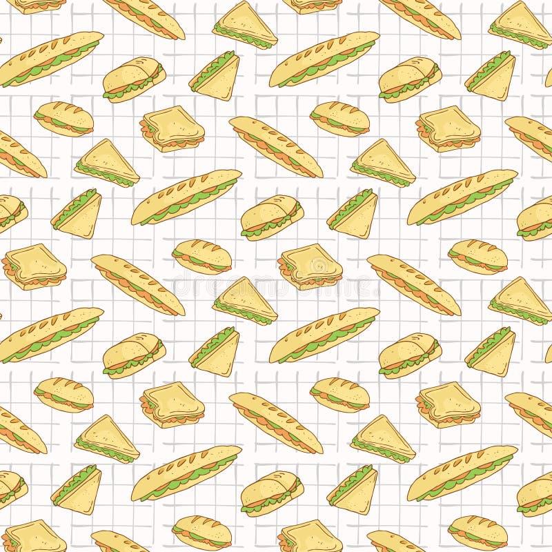 在桌布无缝的传染媒介样式,手拉的食物的三明治 皇族释放例证