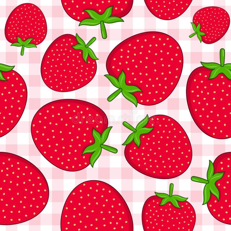 在桌布的草莓无缝的样式 皇族释放例证