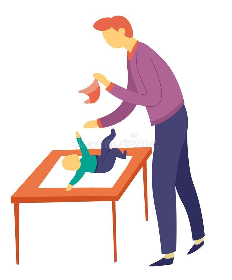 在桌育儿和父权的父亲改变的儿子尿布 库存例证