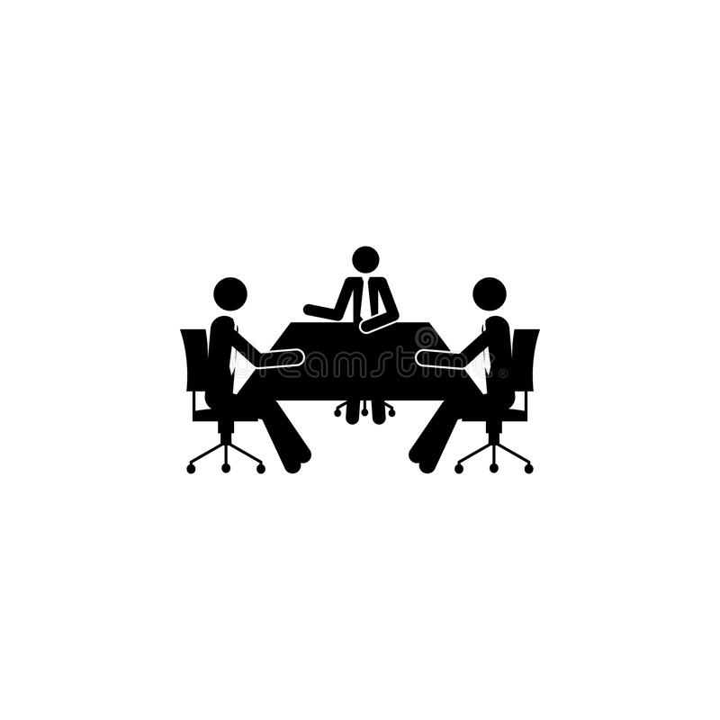 在桌象的企业讨论 人的元素工作象的流动概念和网apps的 详细的企业discussio 库存例证