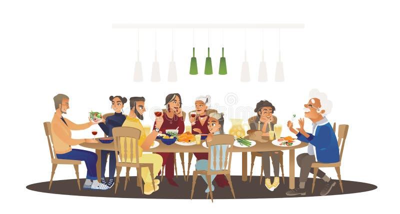 在桌附近的大家庭晚餐用食物,一起谈话许多的人吃膳食和 皇族释放例证