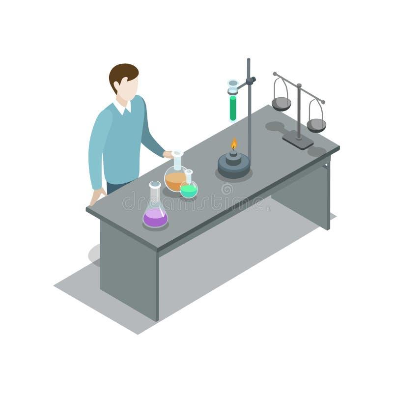 在桌附近的老师用实验室设备 库存例证
