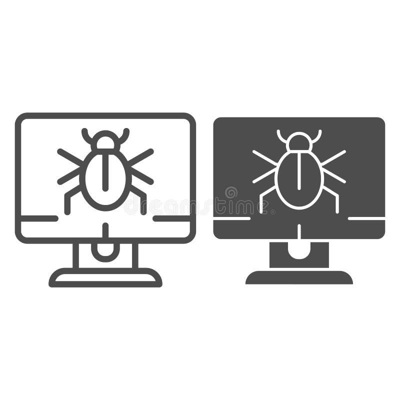 在桌面线和纵的沟纹象的机敏的通知 在白色隔绝的被传染的计算机传染媒介例证 计算机臭虫 向量例证