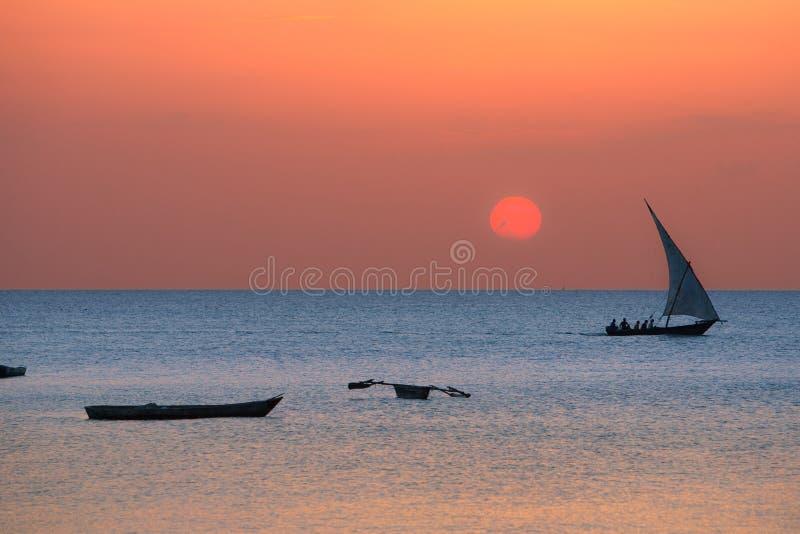 在桑给巴尔海岸的传统单桅三角帆船 图库摄影