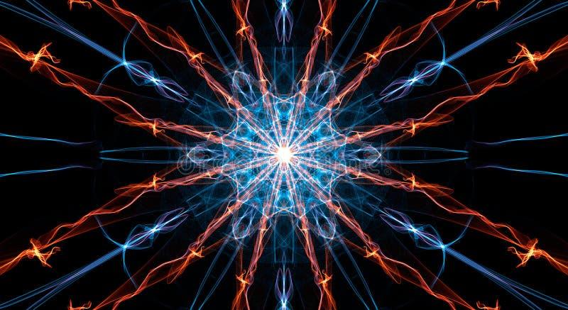 在桔子的抽象五颜六色的分数维在黑色的背景和蓝色 皇族释放例证