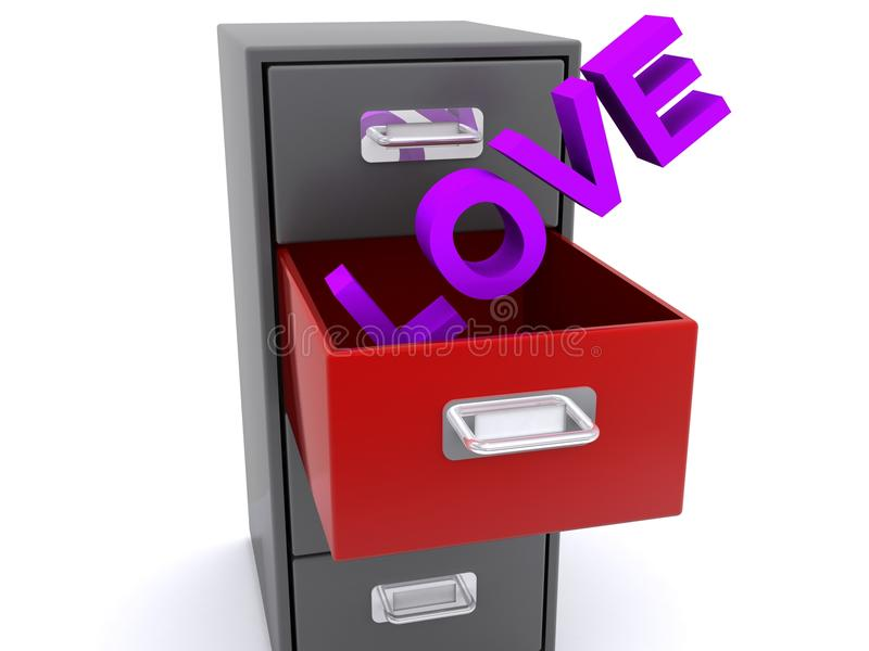 在档案橱柜抽屉的爱 皇族释放例证