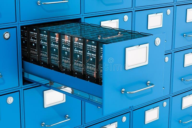 在档案橱柜的服务器机架 数据存储概念,3D renderi 库存例证