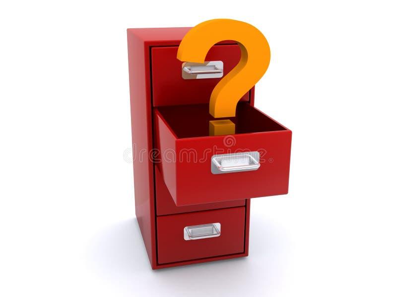 在档案橱柜的问号 向量例证