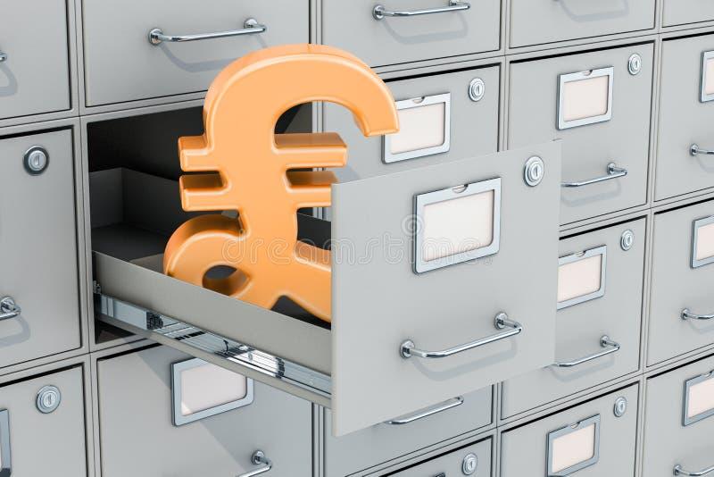在档案橱柜,3D的英镑标志翻译 皇族释放例证