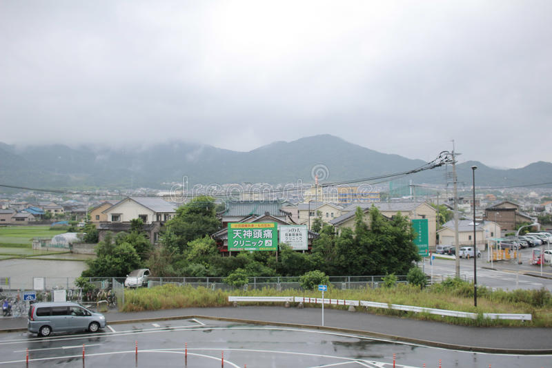 在桥本福冈的城市视图 库存照片