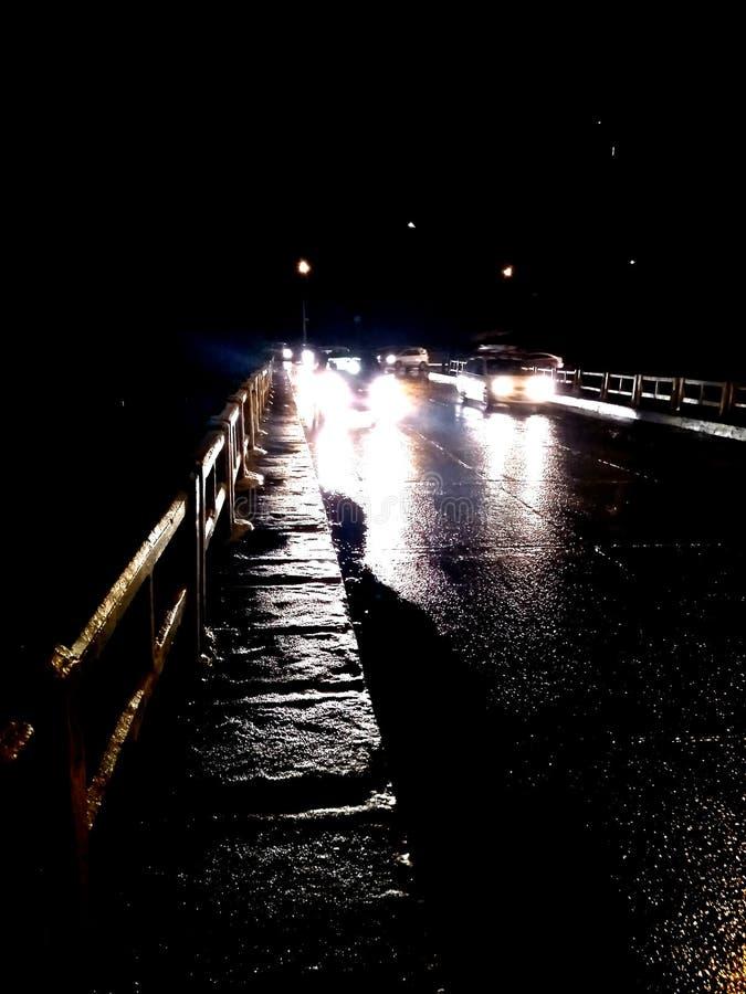 在桥梁的夜 图库摄影