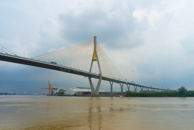 在桥梁的泰国停止公开桥梁消息被命名 免版税库存照片