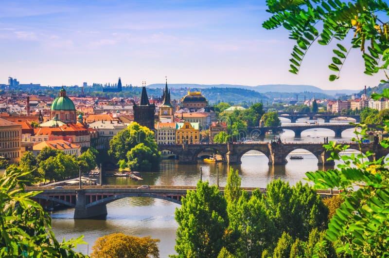 在桥梁的美丽的景色在伏尔塔瓦河河在布拉格市 库存照片