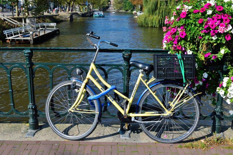 在桥梁的美丽的阿姆斯特丹自行车 免版税库存图片