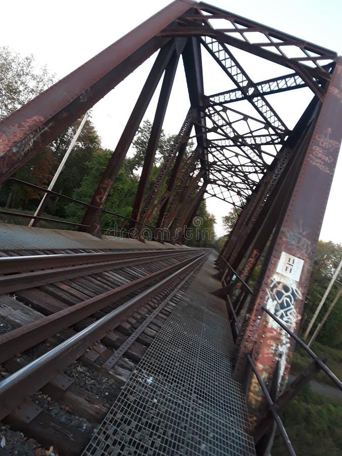 在桥梁距离展望期舒展跟踪的铁路铁路之外 免版税库存图片