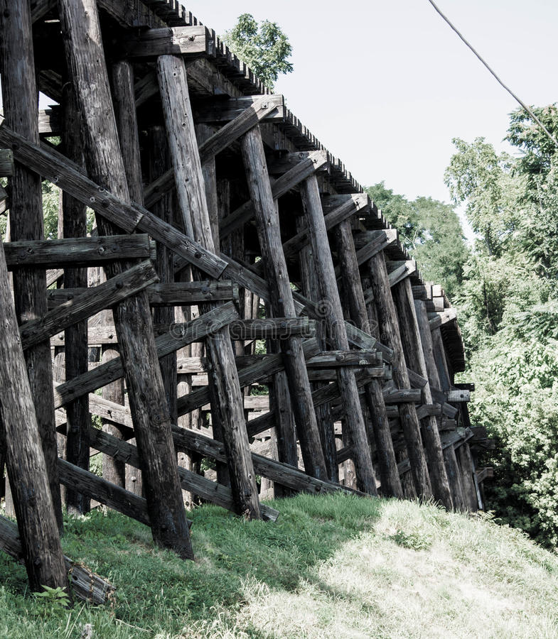 在桥梁距离展望期舒展跟踪的铁路铁路之外 库存照片